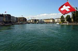 English: Rhône river in Geneva. Français : Le ...