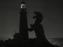 Una scena di Il risveglio del dinosauro (1953), basata sul racconto La sirena di Bradbury.