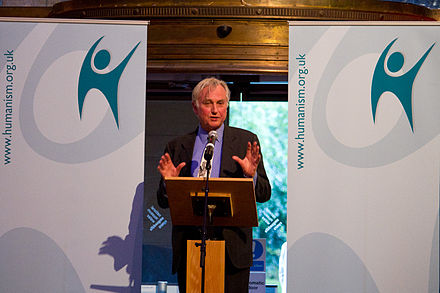 Dawkins accepting the Services to Humanism award at the British Humanist Association Annual Conference in 2012 Richard Dawkins speaking at the British Humanist Association Annual Conference.jpg