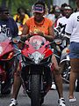 Rider with orange tshirt on Suzuki at Black Bike Week Festival 2008.jpg