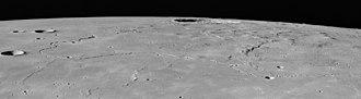 Marius (crater) - Rima Marius, with Marius crater itself at right, from Apollo 15