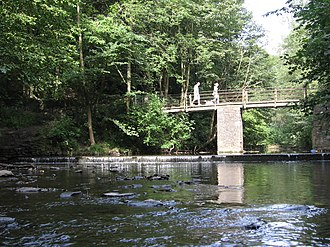 Frome Valley Walkway - A footbridge over the Frome, near Snuff Mills.