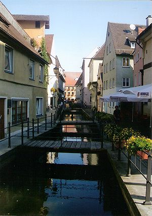 Memmingen - The picturesque Stadtbach (Town Brook)