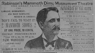 Dime museum - 1885 advertisement for Robinson's Dime Museum and Theatre.