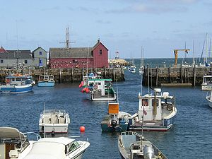 Rockport inner harbour showing lobster fleet a...