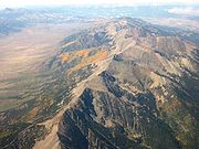 Aerial view of the Colorado Rocky Mountains in summer
