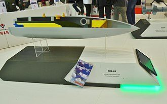 TÜBİTAK Defense Industries Research and Development Institute - Penetrator bomb NEB-83 at thestand of Roketsan during the IDEF 2015.