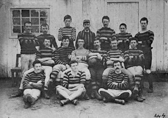 Rugby union in Argentina - Rosario A.C. squad of 1884, the oldest photo of a rugby team in Argentina.