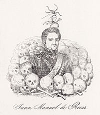 Engraving depicting a man wearing an ornate military uniform waist-deep in a pile of human skulls and bones with a disembodied hand holding snakes above his head