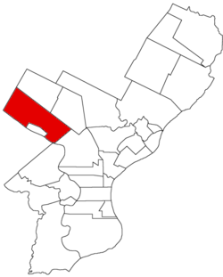 Map of Philadelphia County, Pennsylvania highlighting Roxborough Township prior to the Act of Consolidation, 1854