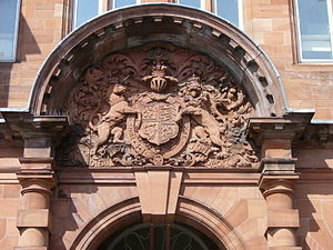Royal Hospital for Sick Children, Edinburgh - Royal Arms carving over the main entrance
