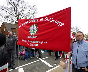 Royal Society of St George - A Royal Society of St George banner at the Stone Cross St George's parade in 2014.