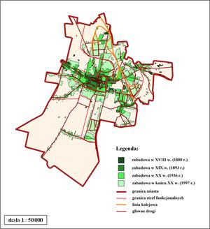 Końskie - Rozwój zabudowy miasta Końskie na przestrzeni wieków (mapa wielofazowa)