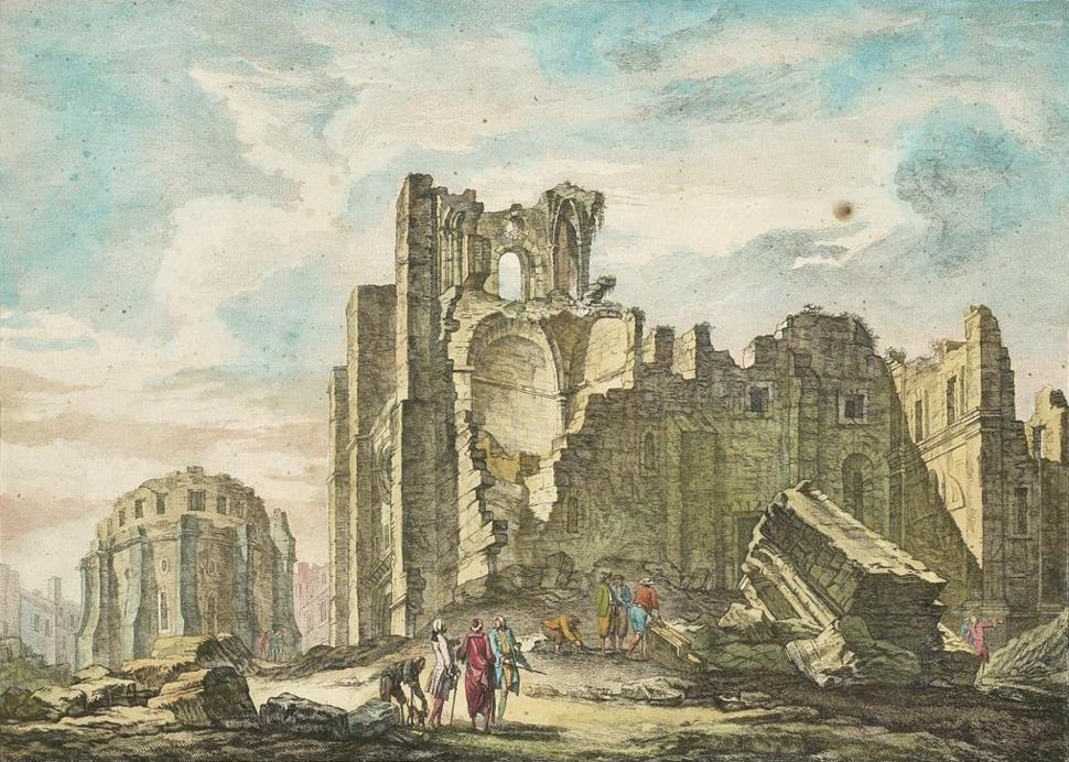 Ruinas da Sé de Lisboa após o Terramoto de 1755 - Jacques Philippe Le Bas, 1757