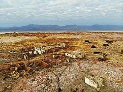 Ruinas de la ciudad de Dallol, Etiopía, una mina de azufre italiana abandonada.