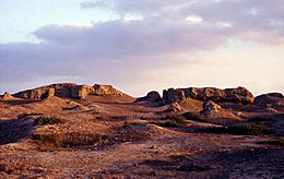 Ruins of mudbrick buildings on the northern mound of Buto-Desouk.jpg