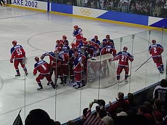 Russia men's national ice hockey team - The bronze medal winning Russian team at the 2002 Winter Olympics.