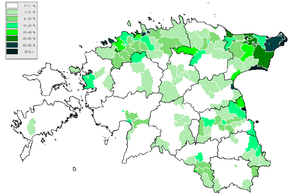 Russians in Estonia - Distribution of the Russian language in Estonia according to data from the 2000 Estonian census