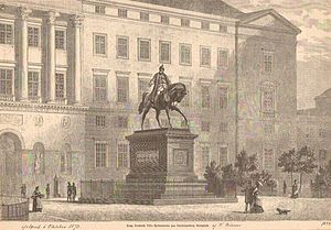 Equestrian statue of Frederick VII - The statue in 1873 with the second Christiansborg Palace as a backdrop