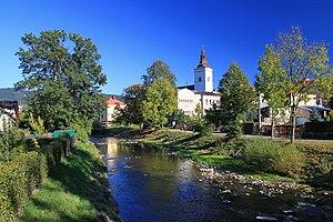 Jablunkov - Image: Rzeka Łomna w Jabłonkowie 1