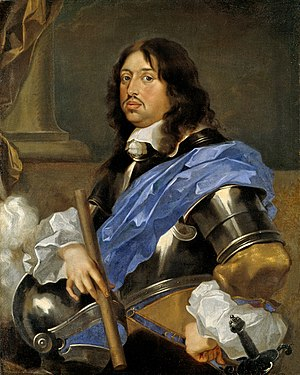 1650–1700 in Western European fashion - Carl X Gustav (1626–1660), King of Sweden 1654–1660, wears ruffled sleeves, armour, small cravat and flat-lace collar.