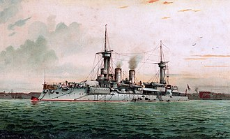A light gray ship sits at anchor in a choppy green sea, black smoke drifting from two smoke stacks