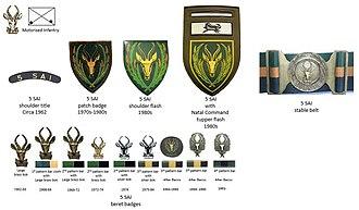 5 South African Infantry Battalion - SADF era 5 SAI insignia