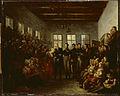 SB 5766-De prins van Oranje bezoekt de slachtoffers van de watersnood in het Aalmoezeniersweeshuis te Amsterdam op 14 februari 1825.jpg