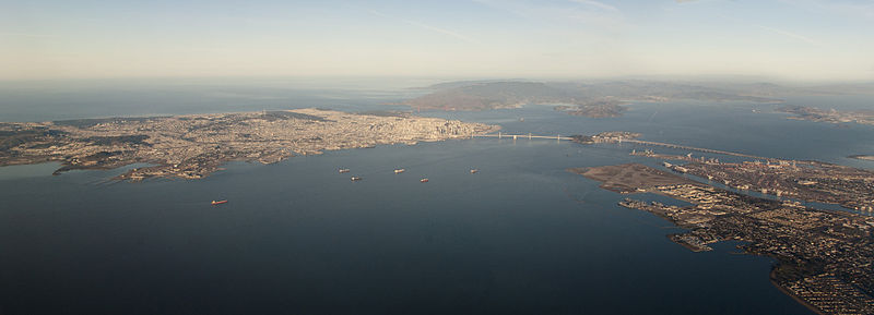 SF, Bay Bridge and Oakland 2014.jpg