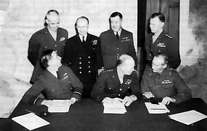 SHAEF commanders at a conference in London