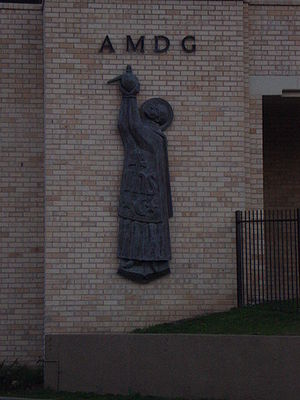 Saint Ignatius' College, Riverview - AMDG: Statue of St Ignatius below Ramsay Hall