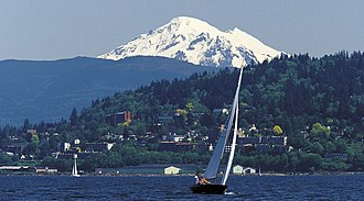 Bellingham Bay - Sailing in Bellingham Bay, with Mount Baker visible in the background