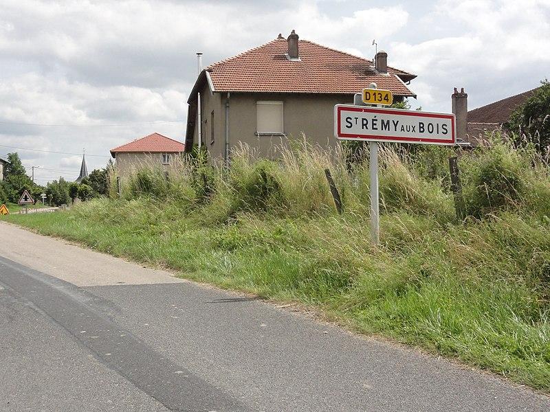 Saint-Rémy-aux-Bois (M-et-M) city limit sign