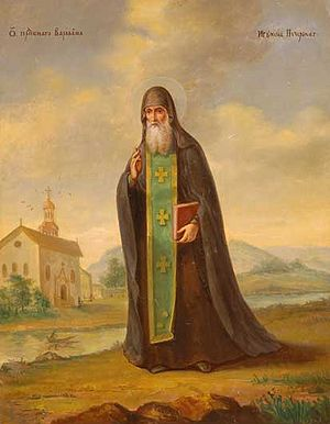 Hieromonk - Saint Barlaam of the Kiev Caves Monastery, wearing his monastic habit and priestly epitrachelion