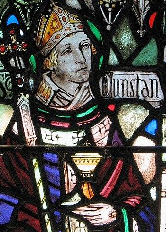 San Dunstán en la vidriera del Holy Cross Monastery, Nueva York.