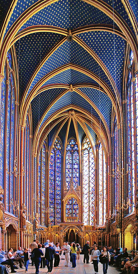 Saint Louis' Sainte Chapelle represents the French impact on religious architecture. Sainte Chapelle - Upper level 1.jpg