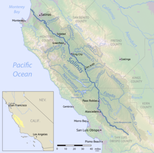 Salinas Valley - Map of the Salinas River watershed.