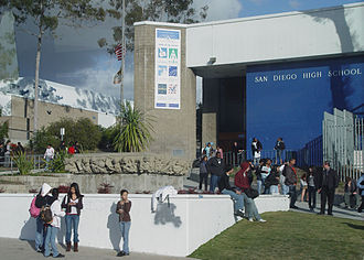 San Diego High School - SDHS 100 building showing the logos of the six small schools