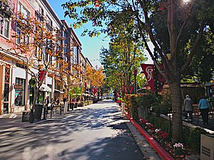 Santana Row - Tree-lined commercial streets characterize the district.