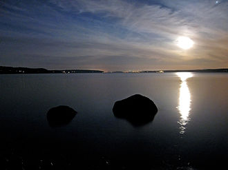 Saratoga Passage - Saratoga Passage at night, as seen from Camano Island, looking southwest.