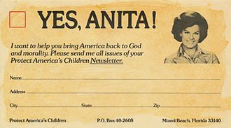 Save Our Children - Fundraising card used by Bryant and Save Our Children; their strategies offered a basis for the Moral Majority, who claimed to be saving America from immorality and communism in the 1980s
