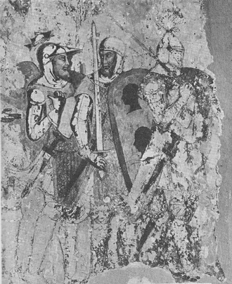 "Savoyard crusade - Fresco on the walls of a hall in the episcopal palace at Colle Val d'Elsa, depicting the departure of barons on a crusade, probably that of 1366, since the knight on the left is Amadeus VI. ""The fresco is usually ascribed to the Sienese school and dated in the last half of the fourteenth century."""