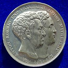 Medal of the introduction the Constitution of 1831. The obverse shows the conjoined heads of King Anthony and Co-Regent Friedrich August. (Source: Wikimedia)