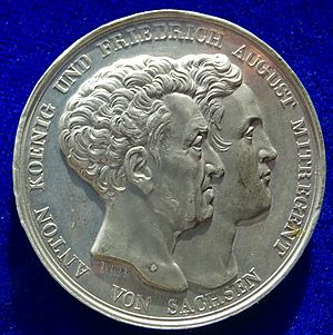 Anthony of Saxony - Medal of the introduction the  Constitution of 1831. The obverse shows the conjoined heads of King Anton and Co-Regent Friedrich August.
