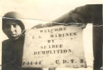 Battle of Guam (1944) - Seabee welcome sign left for the U.S. Marine Corps on Guam. - U.S. Navy