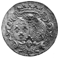 Seal with Coat of arms of Elisabeth Charlotte of the Palatinate, Duchess of Orléans on a coin.png