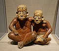 Seated man and woman, Jalisco state, Late Formative period, c. 100 BC to 200 AD, ceramic, Ameca Gray type - Dallas Museum of Art - DSC04604.jpg