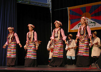 Festál - Tibetan dancers and musicians on Center House stage, Seattle Center as part of TibetFest (part of the Festál series).