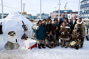 Rob Nicholson - Robert Nicholson, U.S. Secretary of State John Kerry with aboriginal northerners at a replica Inuit village in Aglukkaq's hometown of Inaquit, Canada