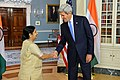 Secretary Kerry Shakes Hands With Indian External Affairs Minister Swaraj After the Counterparts Addressed Reporters in Washington (21602720296).jpg